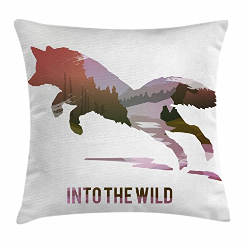 Ambesonne Fox Throw Pillow Cushion Cover, Jumping Fox Silhouette with Woodland Wilderness Hunting Design Survival Theme, Decorative Square Accent Pillow Case, 18' X 18', Lavender Brown