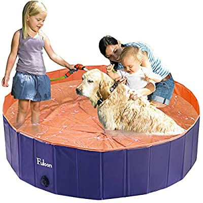Fuloon PVC Pet Swimming Pool Portable Foldable Pool Dogs Cats Bathing Tub Bathtub Wash Tub Water Pond Pool Pet Pool & Kiddie Pools for Kids in The Garden, (160 x 30cm(63inch.D x 12inch.H), Orange)