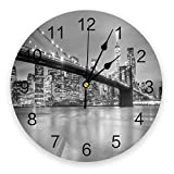 30cm Clocks New York City Night Round Wall Clock for Home Decor Living Room No Ticking Sound Modern Creative Wall Clocks Round Timepiece Children's Day Gift Friends Gifts Wall Art