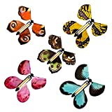 Otawa 5 Pieces Magic Fairy Flying Butterfly Rubber Band Powered Wind up Butterfly Toy for Surprise Gift or Party Playing