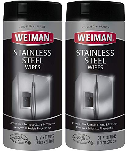 Weiman Stainless Steel Cleaning Wipes 2 Pack Removes Fingerprints Residue Water Marks and Grease From Appliances - Works Great on Refrigerators Dishwashers Ovens Grills and More8 x 66 x 32