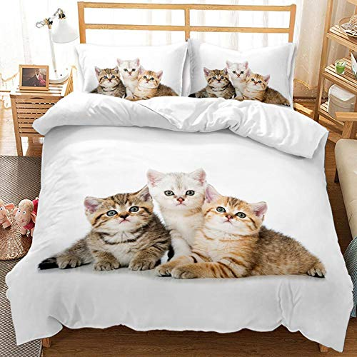 YZDM Animal Cat Duvet Cover Bedding Set, 3D Printed Children's Cartoon Microfibre Bedding Set, for Children Teenagers (M, 200 x 200)