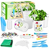 Richoose 40Pcs Paint & Plant Flower Growing Kit - Including 8pcs Iron Hanging Flower Pots DIY Garden Planter Metal Bucket Include Painting and Planting Tools for Girls and Boys