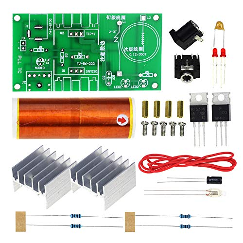 Teslas Spulen-Lautsprecher, Teslas Spule Minis Musik fluoreszierendes Elektronik-Kit 15 W kabellose Übertragung DC 15-24 V Set Plasma-Lautsprecher Zündung, 15w, Free Size