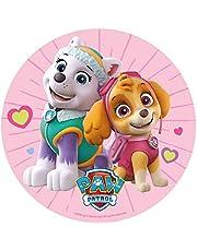 Decoración Tartas de Cumpleaños Infantiles en Disco de Oblea Comestible - Personajes Skye & Everest Patrulla Canina - 20 cm