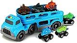BeebeeRun Dinosaurio del Juguete Camión de Transporte,6 Dinosaurio Animal Figuras Coche,Juguetes Niños 3-8 Años,Educativo Juguete