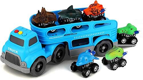 BeebeeRun Dinosaurier Transporter Truck mit 6 Pack Dinosaurier Tier Auto,Spielzeug ab 3 Jahre Junge,Dinosaurier Spielzeug Geschenke für Kinder