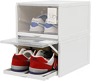 Baffect Shoe Boxes Clear Plastic Stackable, Drawer Type Shoe Storage Boxes Sneaker Storage Organizer Push Pull Display Sho...
