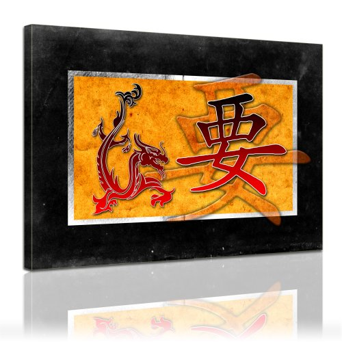 Wandbild - Chinesische Kunst - Drachen und Zeichen - Bild auf Leinwand - 60x50 cm - Leinwandbilder - Urban & Graphic - Asien - asiatisch - schwarz - rot - Gold - Bedeutung unklar