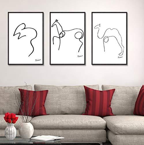 QINGRENJIE Wandkunst Bild Graffiti Kurzstriche Tier Zusammenfassung Pablo Picasso Tiere Ölgemälde Minimalist Living Kinderzimmer Hund Eule Maus Pferd 3 Stück 40X60Cm * 3 Ohne Rahmen
