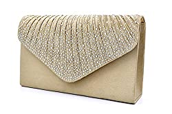Envelope Type Evening Clutch Crossbody In Champagne