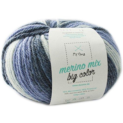 MyOma Merinowolle Farbverlauf - 1 Knäuel Merino Mix Big Color Spirit (Fb 5005) - Wolle bunt 100g/150 m + GRATIS Label – Effektgarn zum Stricken Nadelstärke 6-7 mm – Wolle Farbverlauf blau