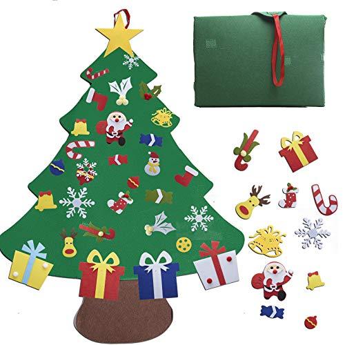 GONFOWE Filz Weihnachtsbaum, 32 Stück DIY Weihnachtsbaum Set 3.2ft Hängend Dekor für Kinder Weihnachten Geschenk Home Tür Wand Dekoration (Blau1)