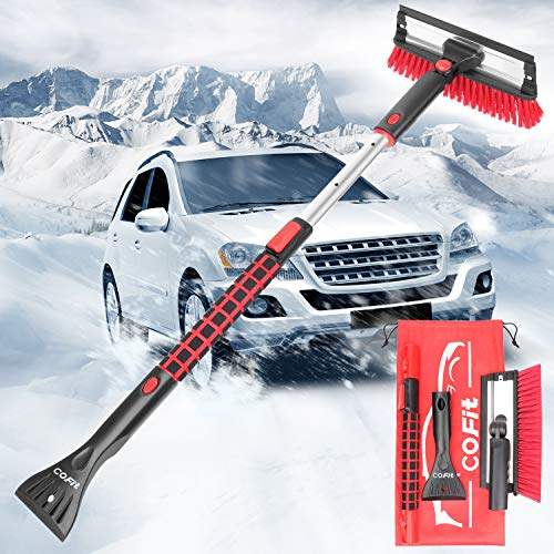 COFIT 3 in 1 Detachable Snow Brush, with Squeegee and Ice Scraper, Snow Frost Ice Removal Tool with Foam Grip for Car Truck SUV
