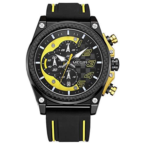 W.zz Reloj Hombre CronóGrafo Impermeable Cuarzo AnalóGico Acero Inoxidable Marcar Cuero Brazalete Calendario Reloj,Amarillo
