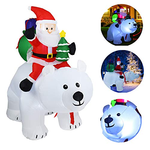 knowledgi 6.6 Ft Inflable Papá Noel, Papá Noel Jinete el oso polar, para Navidad Airblown hinchable Outdoor Indoor Hogar Jardín Familia Prop