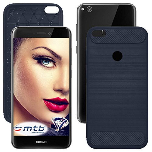 mtb more energy® Schutz-Hülle Carbon für Huawei P8 Lite 2017 / P9 Lite 2017 (5.2'') - Dunkelblau - flexibel - TPU Case Cover Tasche