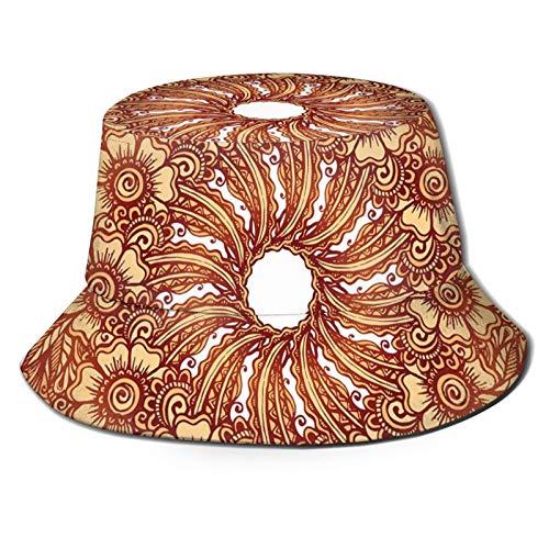 Fisherman Senderismo Sombrero De Ala Ancha Gorra, Civilización Oriental Inspirado Diseño De Tatuaje Floral Mehndi Motif Ilustración