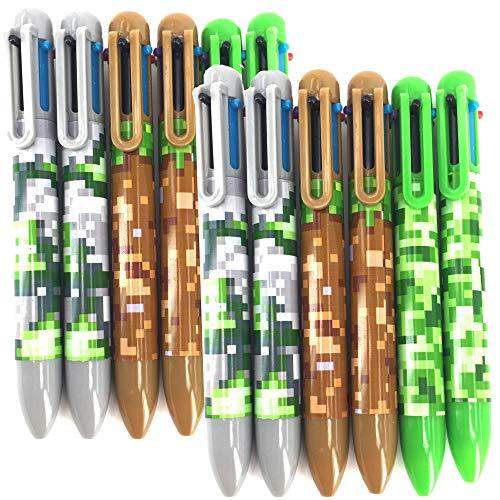 12 x Kugelschreiber Pixel/Camouflage – 6 Farben Tinte pro Stift ┃ Kindergeburtstag ┃ Kleines Geschenk Camouflage ┃