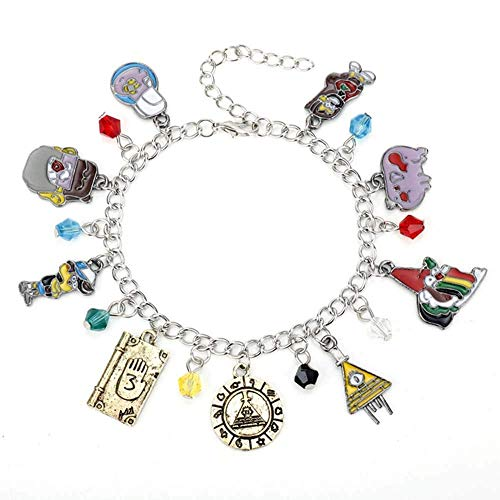 Detazhi Cartoon Gravity Falls Bill Cipher Zodiac Enamel Metal Charm Bracelets With Journal 3 Dipper Pines Crystal Beads Bangles