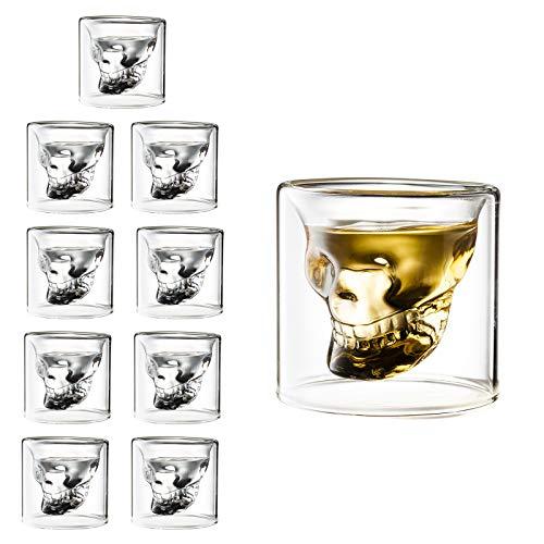 TRIXES Schnapsgläser - Whiskygläser - Wodka-Geschenkset - Schädelgläser für Halloween - 10PC-Trinkgläser - Klarglas-Effekt für Wodka-Whisky-Weinschüsse - Neuheitengeschenke