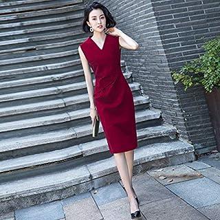 مأدبة حبر أخضر مساء صغير فستان عشاء مزاجي المرأة فستان طويل فستان امرأة XL 酒红色【无钻饰】