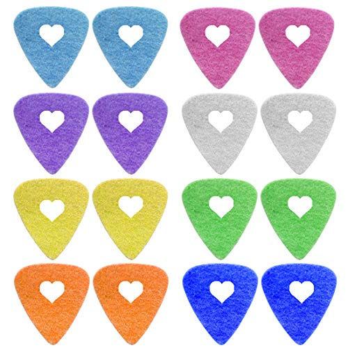 Foxany 16 Pack Ukulele Felt Picks, Comfortable for Ukulele, Guitar, Bass and Low Tension Music Instruments Felt Material Multi Color