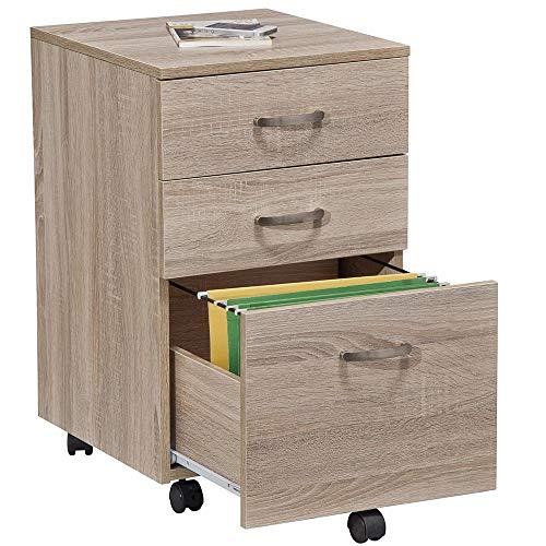 BAKAJI Cassettiera Girevole Scrivania Casa Ufficio in Legno MDF con 3 Cassetti Ruote e Chiusura con Chiave Estraibile (Rovere)