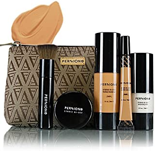 Perfxion HD High Definition Makeup 6 Piece Kit: Primer, Foundation, Concealer, Refining Powder, Brush & Pouch - Dark
