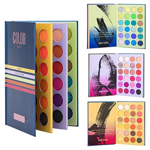 Paleta de Sombras de Ojos de 72 Colores Press Paleta de Sombras de Libros Brillo Mate Brillo nacarado Sombra de Ojos Profesional en Polvo Paleta de Maquillaje Impermeable de Larga duración