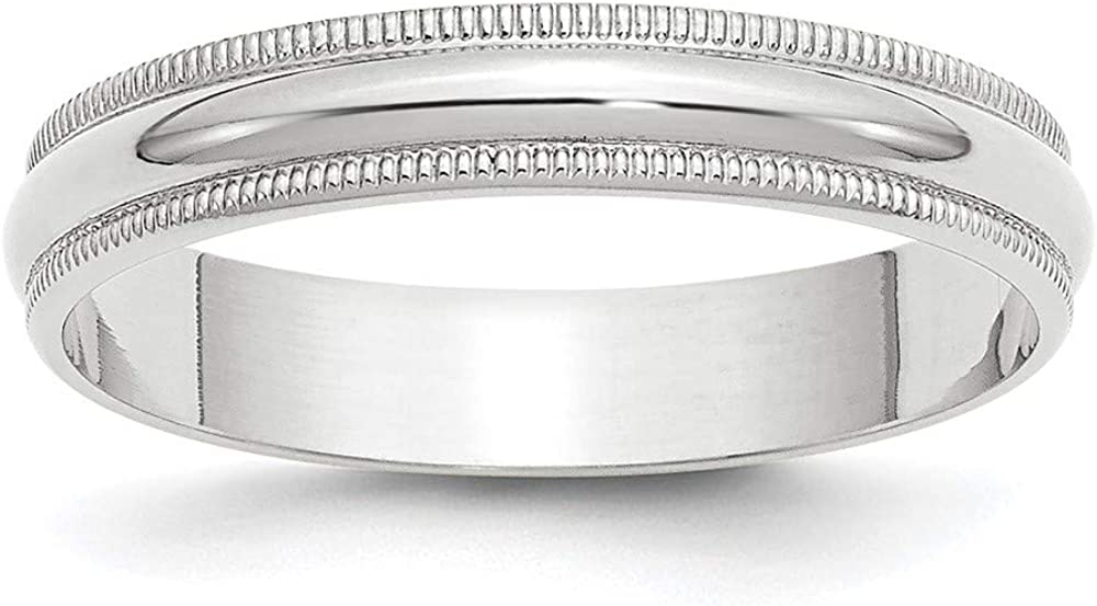 10 White Gold 4mm Milgrain Half Round Wedding Ring Band Size 11 Classic Fashion Jewelry For Women Gifts For Her