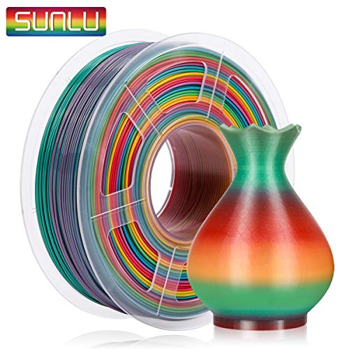 SUNLU PLA Multicolor Filamento 1.75mm, Impresora 3D PLA Rainbow Filamento 1kg Spool, Precisión Dimensional +/- 0.02 mm, PLA Rainbow Multicolor