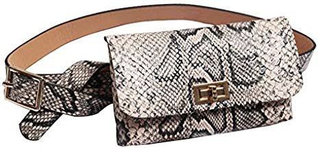 Small Faux Leather Elegant Snakeskin Waist Fanny Belt Pack Bag Phone Purse for Women Girls Travel