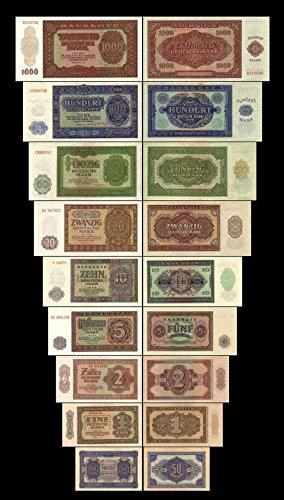 *** 0,5 - 1000 Mark DDR - 9 Banknoten Ausgabe 1948 - Alte DDR Währung - Pick 08 - 16 - Reproduktion ***