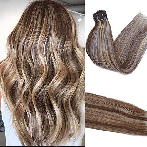 15inch Clip in Hair Extensions Brown with Blonde Highlighted Remy...