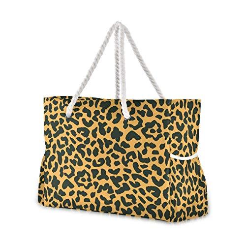 Bolsas de playa grandes Totes Bolsa de hombro Bolsa de hombro Vector Patrón sin costuras con manchas de leopardo Inky Bolsas resistentes al agua para el gimnasio Viaje diario