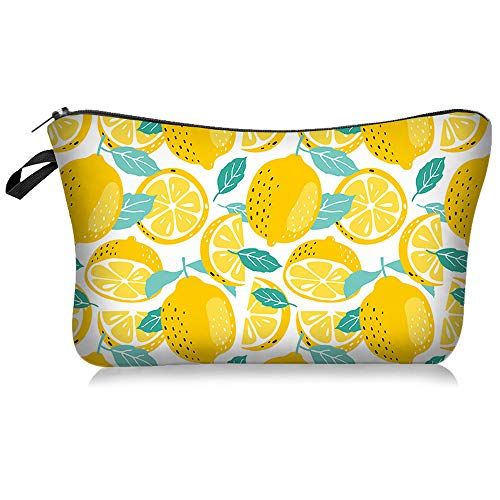 Small Portable Lemon Makeup Bag for Girls & Women Double-sided Printied Waterproof Travel Cosmetic Bag Zipper Pouch Toiletry Organizer, Adorable Roomy Lemon Pencil Case