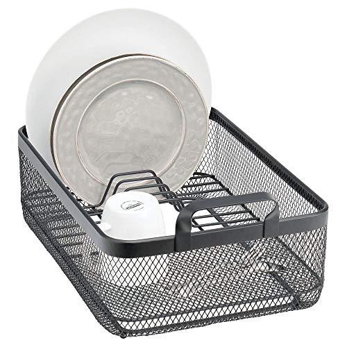 mDesign Escurridor de cocina para platos, cuencos y vasos – Soporte escurridor...