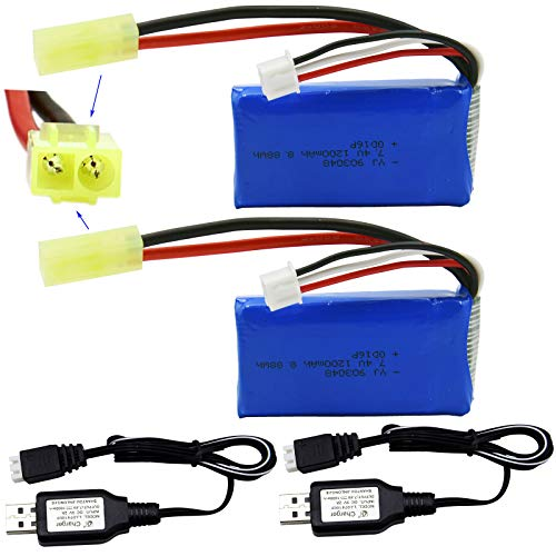 Blomiky 2 Pack 7.4V 1200mAh 8.88Wh Li-PO Battery with Mini Tamiya Plug and 2 USB Charger Cable for 1/18 Scale 9310 300E 9300 9301E 9302E 9303E 9304E 9305E RC Truck 9300 1200 2