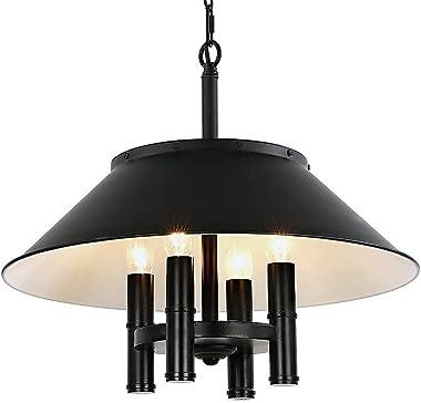 European Iron Black Aluminum Chandelier Retro Industrial wind Bar Dining Room Creative Fashion Pendant Lamps Personality Pot