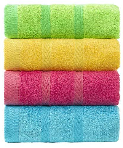 MEMRUI Woodfiber Kids Facial Towels, Multicolor Fingertip Towels for Bathroom Towel Set, 10 x 19 in(4 Pack in 4 Color), Kids Hand Towels & Baby Washcloths & Children Face Towels for Bathroom