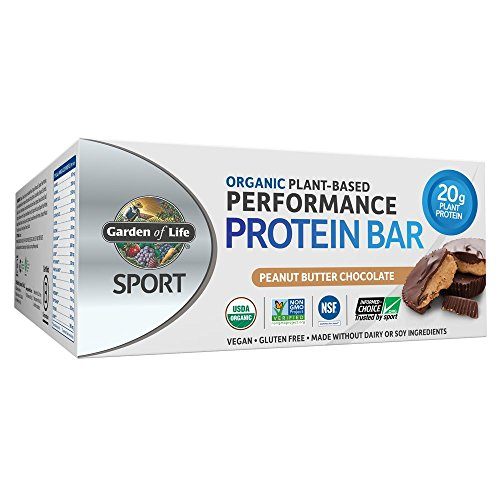 Garden of Life Sport Protein Bars, Organic Plant Based High Protein Bars - Peanut Butter Chocolate, 20g Pure Protein per Bar, Vegan, Organic, Gluten Free, Certified Clean for Sport, 12 Count