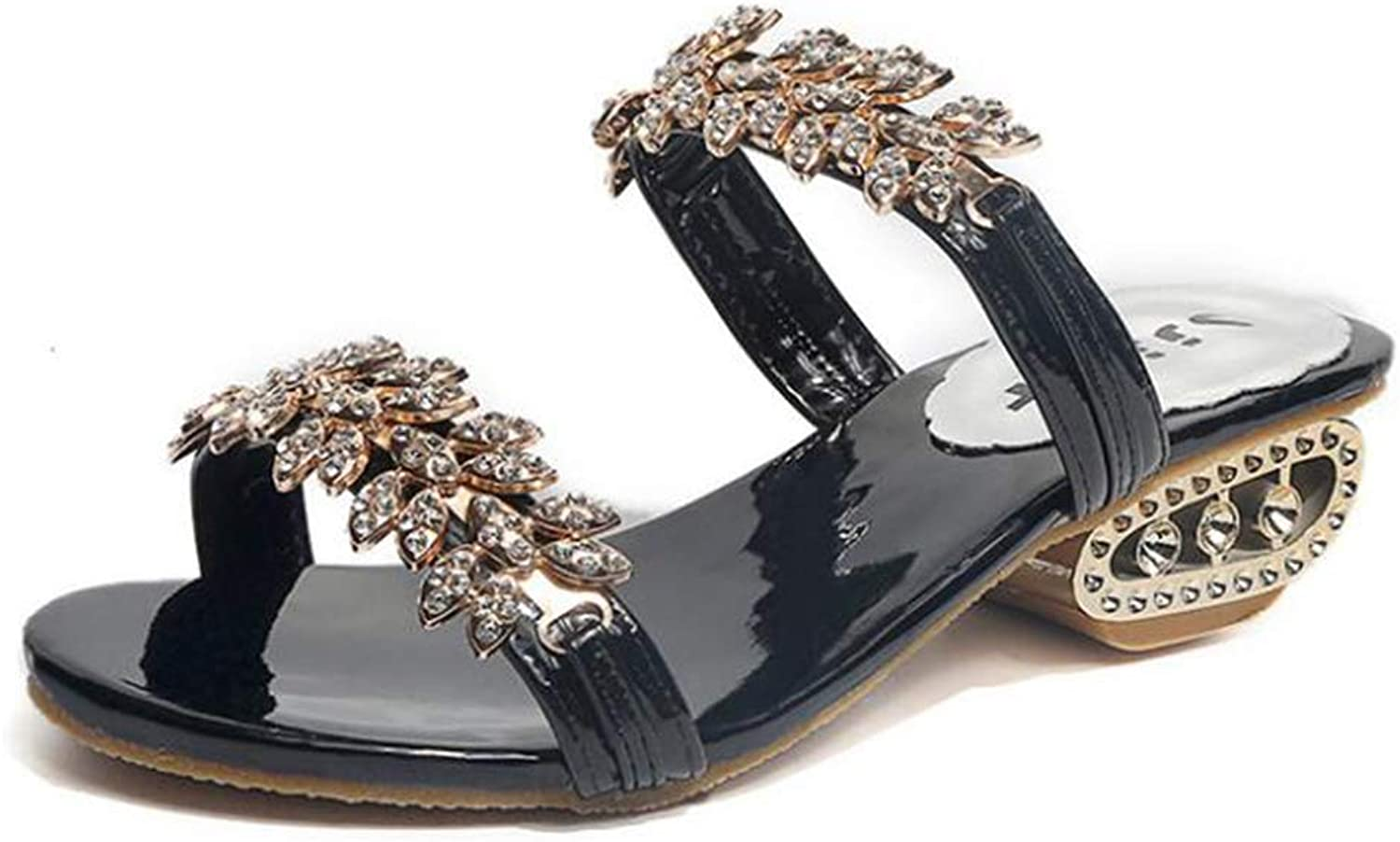 Summer Rhinestone Flower Ladies Sandals with Thick and Female Sandals,Black,41