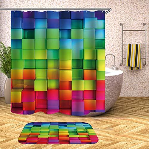 ZZZdz Farbige Quadrate. Duschvorhang. Hochauflösender 3D-Druck, Kein Ausbleichen, Leicht Zu Reinigen, 180 X 180 cm. Bodenmatte, 40X60Cm.
