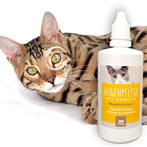 Augentropfen I Augenpflege für Katzen I Augenreiniger I Augen-Reinigung Staub Schmutz I Reinigung & Pflege Tränenflecken Augenlid I Pflegemittel mit Kamille t Katzenpflege beugt Entzündung vor 100 ml