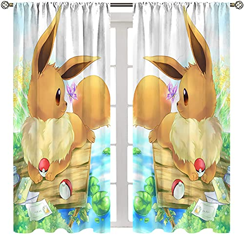 SSKJTC Painting Art Curtain for Living Room Bedroom Anime Pokemon Eevee Side View Curtains for Bedroom Girls Kids Room W63xL63 Inch