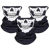 ZKSM 3 Stück Nahtlos Schädel Gesicht Schlauch Maske Motorrad Gesichtsmaske für Motorrad, Fahrrad, Wandern, Ski, Halloween (Weiß und Schwarz)