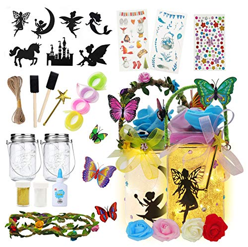 2er DIY Fee Laterne Kit für Kinder - Neuheit Kinder Weihnachtsbeleuchtung, niedliche hängende led Lichterketten, Bastelbedarf Kinder, Spielzeug Geschenk für Mädchen im Alter von 4-12
