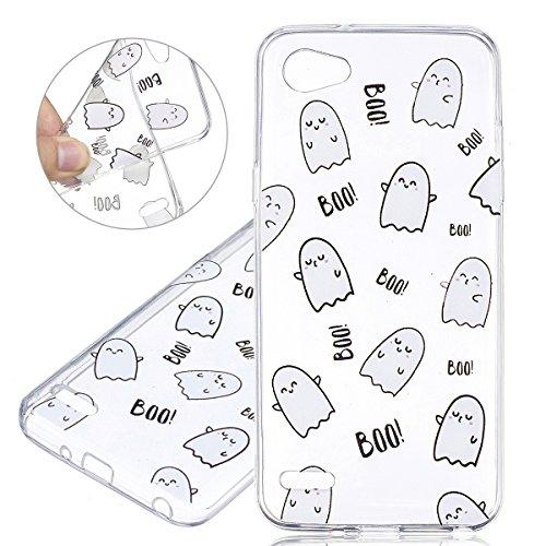 ISAKEN LG Q6 Hülle, Ultra Slim Weiche TPU Silikon Durchsichtig Transparent Protective Rückseite Back Hülle Cover Tasche Schutz Etui Schutzhülle Hülle für LG Q6 - Emoji Boo
