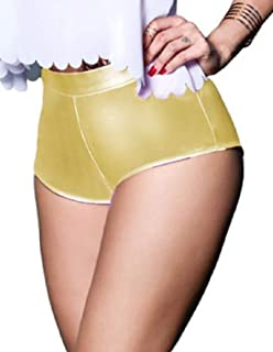 Spirio Womens High Waisted Regular Fit Clubwear Hot Pants Sexy Pure Color Shorts